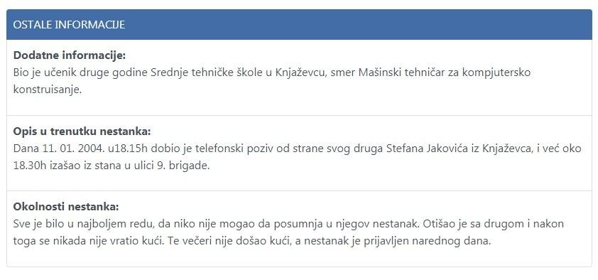 Nikola Jakov, ostale informacije, preuzeto sa sajta nestalisrbija.rs