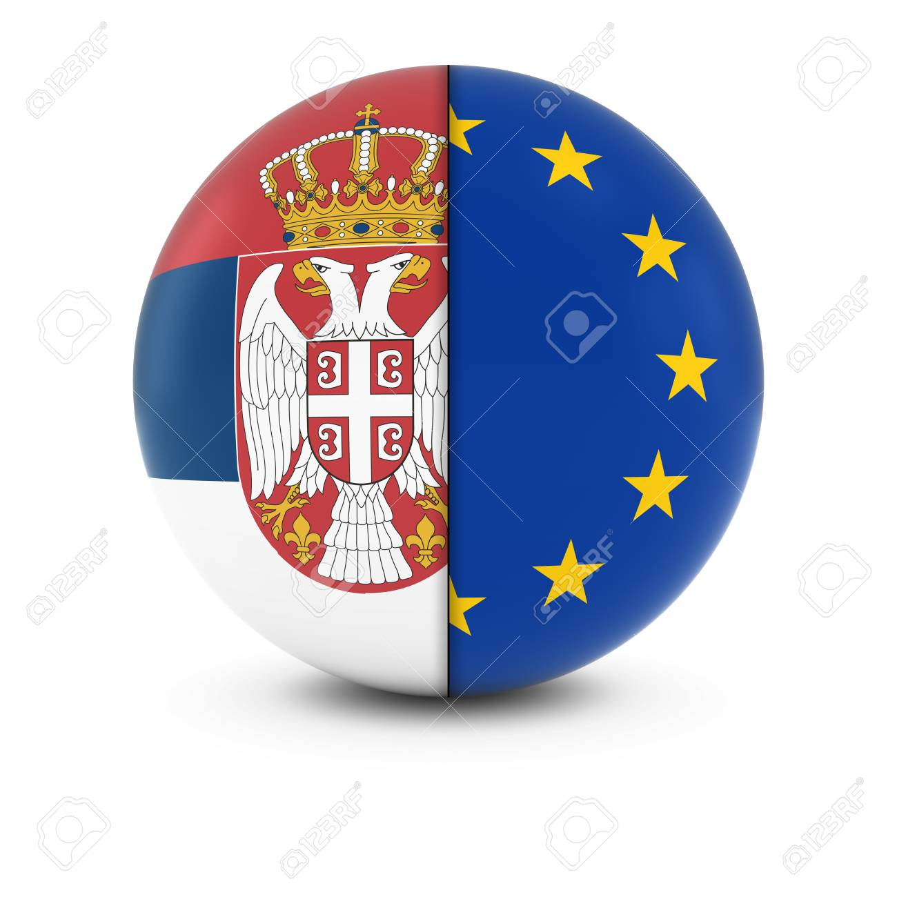 Serbian and European Flag Ball - Split Flags of Serbia and the EU, foto: 123rf.com
